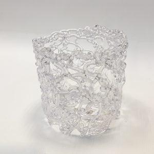 14082 Кашпо Ледяной узор цилиндр, пластик