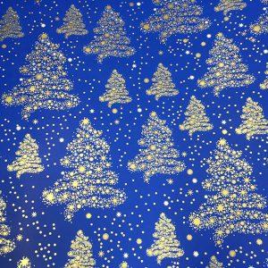 14128 Бумага для подарков Елки глянцевая 70см, 1м, синий