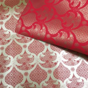 14130 Бумага для подарков Елки глянцевая 70см, 1м, красный
