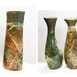 13039 Ваза керамика Муар Н35-40см зелен коричнев