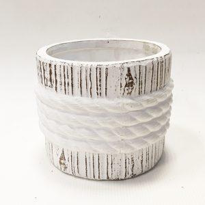 14295 Ваза керамическая Роуп 12х12х10см, цв. белый