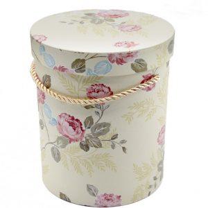 Коробка цилиндр Цветы на молочном
