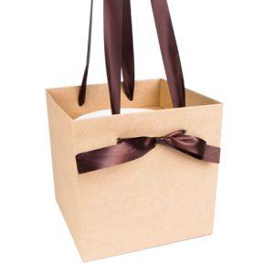 Коробка-ваза квадрат с пластиковой вставкой